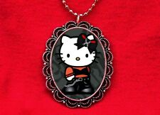HELLO PUNK KITTY CHAINS CAT PENDANT NECKLACE KAWAII EMO