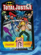 """AQUAMAN: 5"""" Action Figure (Gold Armor) w Blasting Hydro Spear, TOTAL JUSTICE NEW"""