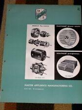 Vtg Master Appliance Mfg Co Catalog-MAMCO Motor/Blowers
