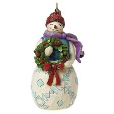 Jim Shore Heartwood Creek Snowman With Wreath Christmas  Hanging Ornament