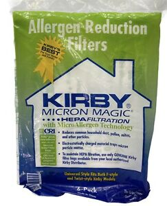 Kirby HEPA Allergen Reduction Micron Magic Vacuum Filters Universal Style 6-Pack