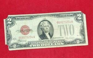 1928 $2 F Legal Tender Note Bill Red Seal 666 repeat serial number devils note