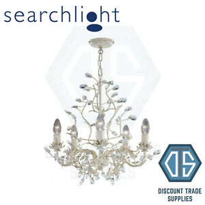 2495-5CR SEARCHLIGHT ALMANDITE CREAM GOLD FINISH 5 LIGHT CHANDELIER WITH CRYSTAL