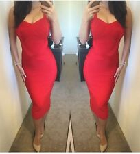 Ladies Race cocktail Midi Wiggle Red Bandage Dress Size 6 8 10 12