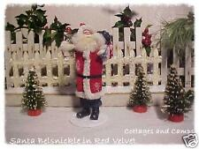 Belsnickle in Red Velvet Santa Toy Sack & Silver Tinsel Xmas Tree Antique Style