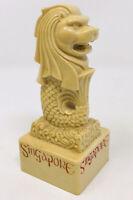 "Singapore China Lion Head Fish Statue Figurine Cream Red 5"" Tall"