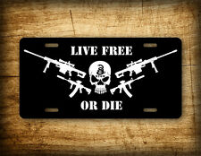 Live Free Or Die License Plate DTOM Patriot Auto Tag AR15 Guns Skull Freedom USA