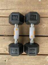 10 lb Dumbbell Set - Hex Rubber 10lb Pair - Total Weight 20lbs - FREE SHIPPING