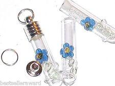1 Small Blue Daisy Flower Glass bottle tube vial charm necklace pendant Lampwork