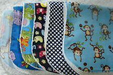 Pack of 6 Burp Cloths Pink Indian Critters Handmade