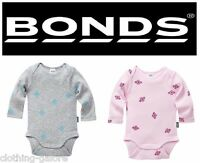 BONDS BABY BOY GIRL COTTON NEWBIES PINK GREY BLUE LONG SLEEVE BODYSUIT