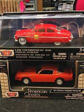 NIB 2 PC. Lot of 1:43 MOTOR MAX 77' FIREBIRD & 49' COUPE FIRE CHIEF
