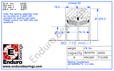 Taylor I-1-17-1599 forklift mast Guide roller ENDURO MG110-1