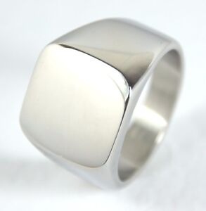 Men's Stainless Steel Smooth Square Signet or Pinky Ring High Quality