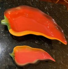"""CLAY ART 16 3/4"""" BY 9"""" CHILI PEPPER DIP SERVING BOWL W/ DIP TRAY"""