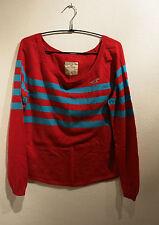 Hollister Pullover Shirt rot blau türkis Steifen M L 38 40 wie neu