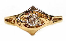 Double Dolphin Engagement Ring, 1/4ct. Diamond Center, 14kt White or Yellow Gold