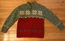 Vintage RALPH LAUREN Sweater Hand Knit Ski Alpaca Wool 1/4 Zip Beauty Petite Sm