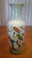 "Vtg Japanese Vase Hand Painted Mid Century Crane Flowers 8"" Bijutsu Toki"