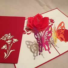 POP UP card - flower & 2 x butterfly (birthday, thank you, blank)