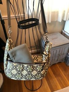 NWT Petunia Pickle Bottom Gray Print Touring Tote With all extra length straps