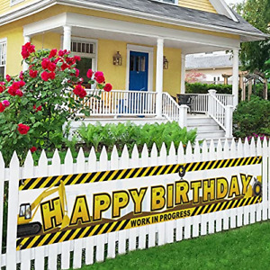 Construction Happy Birthday Large Banner, Construction Theme Birthday Party Lawn