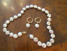 "Vintage 14K Coin Pearl Charm Dangle Hoop Earrings +pJs 18"" matching Necklace Set"
