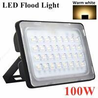 100W LED Flood Light Outdoor Garden Wall Lamps Floodlight Warm White 110V
