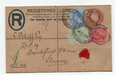 More details for 1905 registered envelope up-rated to germany tri colour franking - threadneedle