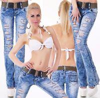 Women's Low Cut Bootcut Jeans Destroyed Look Light Jeans Inc Belt Size 6-14 UK