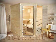 Sauna 220 x 220 5-Eck Espoo Massivholz 45 mm Eckeinstieg