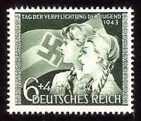 DR Nazi 3rd Reich Rare WW2 Stamp Hitler Jugend Girl Scout Swastika Flag Bearer S