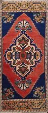 Geometric 1x3 Authentic Oushak Turkish Area Rug Hand-knotted Kitchen Carpet Wool