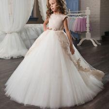 Girls Kids Flower Princess Formal Wedding Bridesmaid Gown Long Dress 2-13 Age