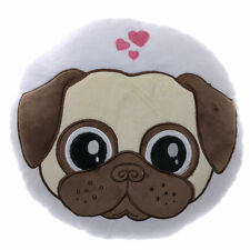 Small Round Pugs and Kisses Pug Dog Cushion Pillow 27 Cm