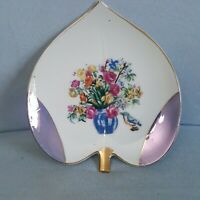 Vintage Porcelain Blue Lusterware Leaf Shaped Trinket Dish Floral & Bird Japan