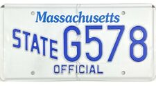 Massachusetts STATE OFFICIAL License Plate #G578 MINT No Reserve