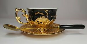 3pcs of gold black porcelain turkish arabic coffee espresso cup & saucer & spoon