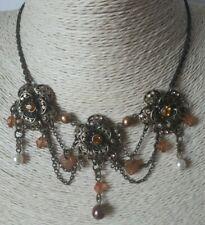 Pretty Autumnal Flower Statement Choker Necklace Bronze & Brown - Beaded By AVON