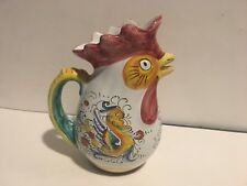 """Williams Sonoma 8"""" Ceramic Chicken Rooster Pitcher Made In Italy - With Dragons"""