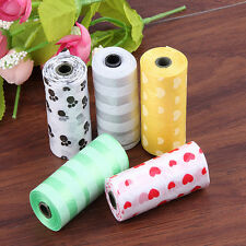 1 Roll Pet Dog Cats Waste Pick Printing Degradable Poop Clean Up Bag&Refill JKCA