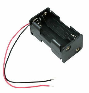 AA x 4 Open Battery Holder Square Base Box 15cm Wires 2+2