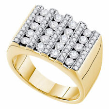 14k Yellow Gold Mens Round Channel-set Diamond Square Stripe Cluster Ring