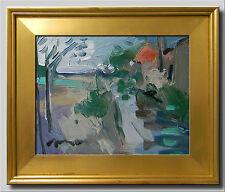 JOSE TRUJILLO - FRAMED Oil Painting Modern Impressionist BUILDINGS RIVER SIGNED