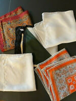 VINTAGE MENS POCKET SQUARE HANDKERCHIEF ~ SET OF 5 ~ LOT SATINs & SILKs
