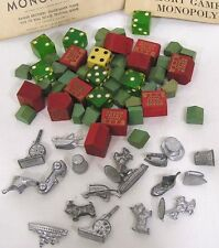 Vintage Monopoly Game Pieces Metal Wood Scottie Race Car Steamship Cannon 1950s