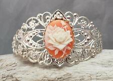 Filigree Silver Tone Flower Themed Resin Cameo Cuff Bracelet