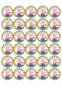 30 x Cup Cake Edible Cake Topper Edible Rice Paper Peppa Pig Birthday Party