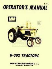 Minneapolis Moline U 302 U302 Operators Maint Manual