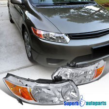 For 2006-2011 Honda Civic 2D Coupe Diamond Headlights Signal Lamps Clear